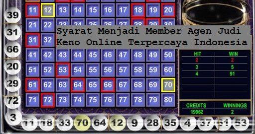 Syarat Menjadi Member Agen Judi Keno Online Terpercaya Indonesia